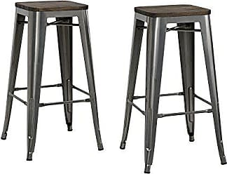 Dorel Home Products DHP Fusion Metal Backless 30 Bar Stool with Wood Seat, Distressed Metal Finish for Industrial Appeal, Set of two, Antique Gun Metal