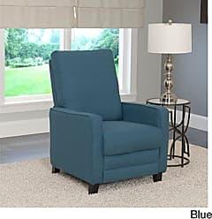 CorLiving LZY-424-R Kelsey Linen Fabric Recliner Blue