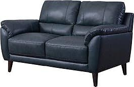Abbyson Colton Top Grain Leather Loveseat (Navy Blue)