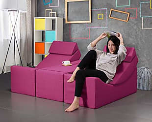 Iconic Home Enzyme Faux Linen Upholstered Convertible Loungie Bench, Modern Contemporary, Fuchsia