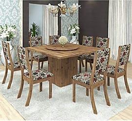 Viero Conjunto para Sala de Jantar Mesa e 8 Cadeiras Viero Lara Avelã/Passion