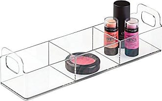 InterDesign iDesign Clarity Cosmetic Divided Organizer, Storage Container for Vanity Cabinet to Hold Makeup, Beauty Products, Toiletries in Bathroom, Bedroom, Dorm Room, 12 x 3 x 3 - Clear