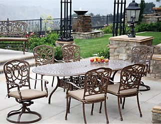 DARLEE Outdoor Darlee Florence 7 Piece Aluminum Oval Patio Dining Set - 201020-7PC-60L-AB