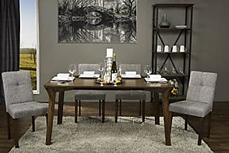 Wholesale Interiors Baxton Studio Elsa Wood and Grey Line Contemporary Dining Chair (Set of 2)