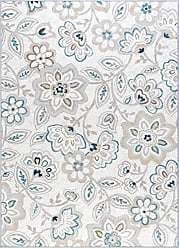 Tayse Tammy Transitional Floral Cream Non-Skid Rectangle Area Rug, 4 x 5