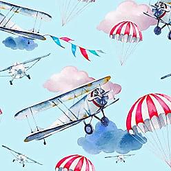 Lar Adesivos Papel de Parede Infantil Avião Quarto Menino Lavável N3956