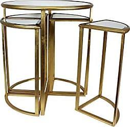 Urban Designs Round Gold Mirror Accent Table