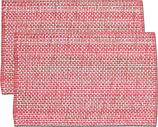 Sweet Home Collection Trends Two Tone 100% Cotton Woven Placemat (6 Pack), 13 x 19, Pink