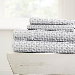 Noble Linens 800 Thread Count Premium Ultra Soft Printed Houndstooth Sheet Set by Noble Linens, Size: Queen - NL-4PC-HND-QUEEN-GRAY