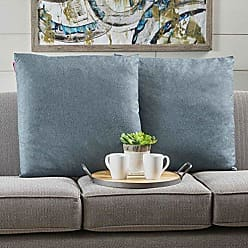 Christopher Knight Home 301614 Soyala Soft Plush Fabric Throw Pillows (Set of 2) (Blue Grey)