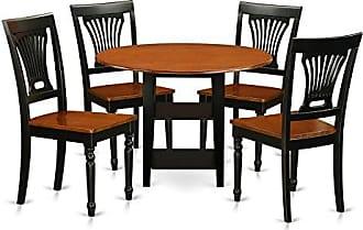 East West Furniture SUPL5-BCH-W Dining Set, 5 Pieces, Black/Cherry