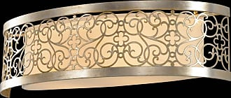 Feiss VS16702-SLP Arabesque Vanity Strip in Silver Leaf Patina finish with Ivory Linen Fabric