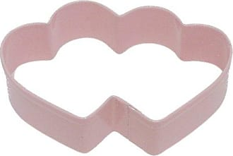 CybrTrayd R&M Heart Double 3.5 Cookie Cutter Pink With Colored, Durable, Baked-on Polyresin Finish