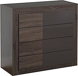 Target Marketing Systems Two-Toned Eden Drawer Chest with 4 Drawers, Dark Sonoma Oak/High Gloss Gray