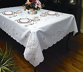Violet Linen Rivierra Embroidered Design Tablecloth, 70 x 140, White