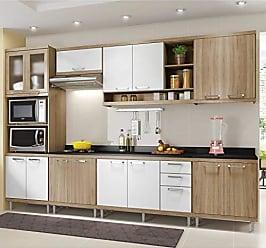 Multimóveis Cozinha Completa com Balcão com Tampo 8 Peças 15 Portas Sicília Multimóveis Argila/Branco