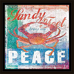 EAZL Sandy Peace Colorful Contemporary Crab Coastal Distressed Wood Grain Painting Red & Blue, Framed Canvas Art by Pied Piper Creative