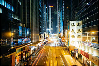 Noir Gallery Hong Kong Des Voeux Road at Night Canvas Wall Art - HK-02-TW-08