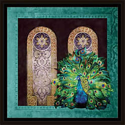 EAZL Moroccan Peacock Colorful Illustration Texture Painting Blue & Green, Framed Canvas Art by Pied Piper Creative