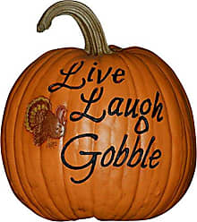 Hickory Manor House Live Laugh Gobble Fall Harvest Pumpkin for Home Decor