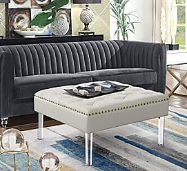 Iconic Home FON9176-AN Pierre Square Ottoman Center Table Button Tufted PU Leather Upholstered Acrylic Legs Modern Transitional White