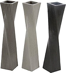 Deco 79 87715 Twisted and Ribbed Ceramic Vases (Set of 3), 4 x 24, Gray/White/Black