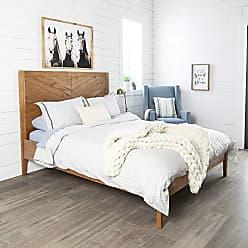 Walker Edison WE Furniture AZWQCHEVCA Queen Bed, Caramel