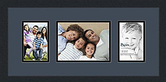 Art to Frames Collage Photo Frame Double Mat with 1 - 6x8 and 2 - 4x6 Openings and Satin Black Frame