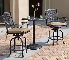 DARLEE Outdoor Darlee Santa Barbara 3 Piece Aluminum Counter Height Pedestal Patio Bistro Set - 201010-3PC-60CJ-AB
