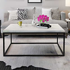 Overstock Gymax Modern Rectangular Cocktail Coffee Table Metal Frame Living Room Furniture - Black and Marble