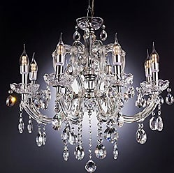 Ore International Ore International K-5801H 25.25W x 22H Fleur Crystal Chandelier with LED Lights, Clear