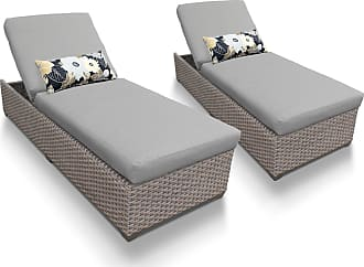 TK Classics Florence Chaise Set of 2 Outdoor Wicker Patio Furniture (Wicker - Grey)