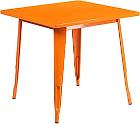 Flash Furniture 31.5 Square Orange Metal Indoor-Outdoor Table