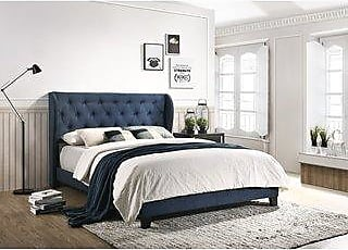Copper Grove Provence Upholstered Wingback Queen Panel Bed (Blue)
