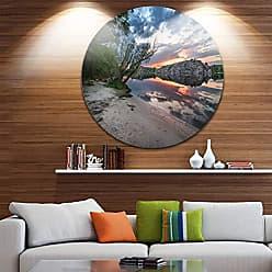DESIGN ART Designart Sunset at River with Rock-Landscape Photo Metal Wall Art - Disc of 23 23 H x 23 W x 1 D 1P Blue