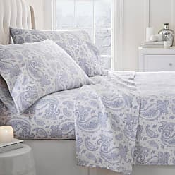 Noble Linens 800 Thread Count Premium Paisley Flannel Sheet Set by Noble Linens, Size: Full - NL-4PC-FPA-FULL-LBLUE