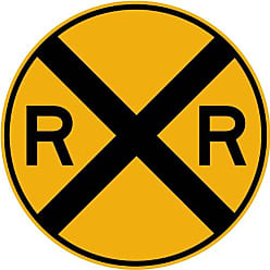 Wallmonkeys Street & Traffic Sign Wall Decals - Rail Road Crossing Symbol Sign - 36 inch Removable Graphic
