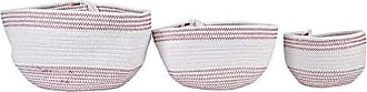Creative Co-op Creative Co-op White & Red Cotton Tassels (Set of 3 Sizes) Rope Baskets, White