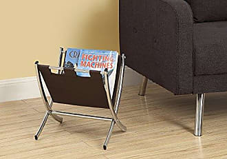 Monarch Specialties Monarch I 2035 Leather-Look Metal Magazine Rack, Dark Brown/Chrome