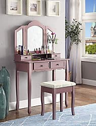 Round Hill Furniture 3413PI Sanlo Wooden Vanity, Make Up Table and Stool Set, Pink