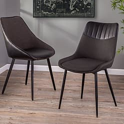 LumiSource Wayne 2 Tone Tufted Dining Side Chair - Set of 2 - CH-WYN BK+GYBK2