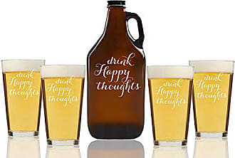 Chloe and Madison Drink Happy Thoughts Beer Amber Growler & pint Glasses, Set of 5