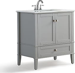 Simpli Home Chelsea 30 inch Bath Vanity in Warm Grey with White Engineered Quartz Marble Top