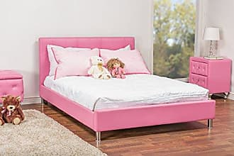 Wholesale Interiors Baxton Studio BBT6140-Full-Pink Barbara Leather Modern Size Bed with Crystal Button Tufting, Pink