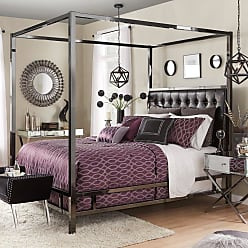 Weston Home Umberton Bonded Leather Canopy Bed, Size: Queen - E739BQ-1BD[CANOPY]