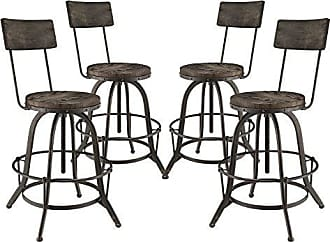 ModWay Modway Procure Modern Farmhouse Pine Wood and Iron Metal Adjustable Height Swivel Bar Stools in Black - Set of 4