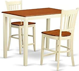 East West Furniture YAGR3-WHI-W 3 Piece High Table and 2 Counter Height Chairs Set