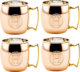 Old Dutch International Solid Moscow Mule Mug, 16-Ounce, Monogrammed H, Copper, Set of 4