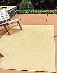 Unique Loom Outdoor Botanical Collection Traditional Floral Border Transitional Indoor and Outdoor Flatweave Yellow Area Rug (2 x 3)