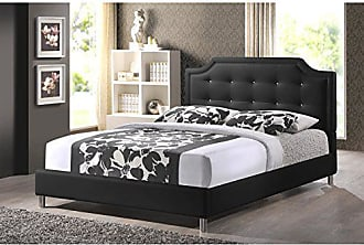Wholesale Interiors Baxton Studio Carlotta Modern Bed with Upholstered Headboard, Black, 47.5 x 56.89 x 82